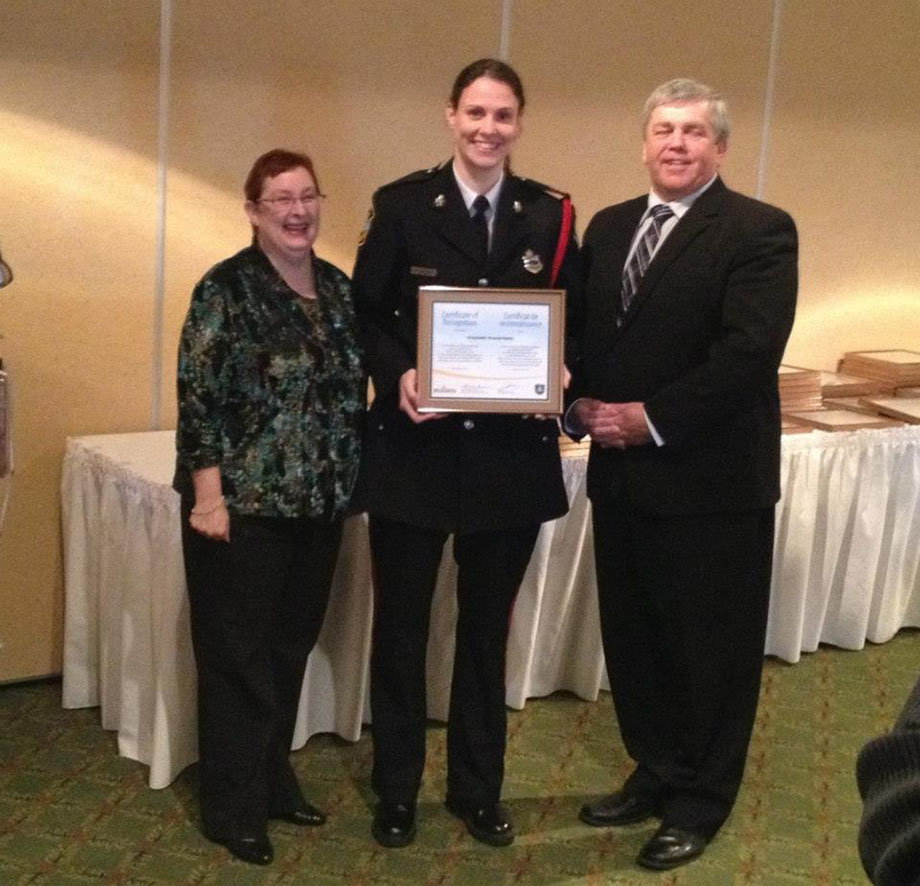 Cst. Krystal Daley receives a Crime prevention Award