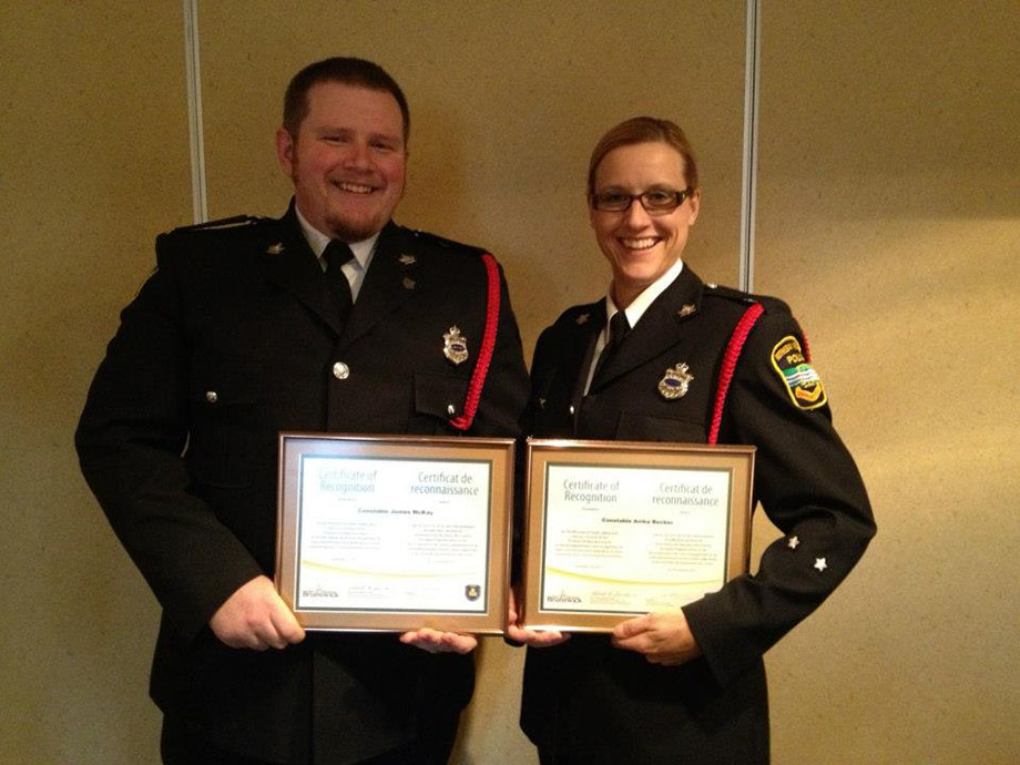 Cst. Anika Becker and Jay MaKay receive awards for their work on Impaired Driving Awareness.